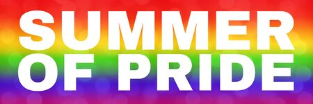 blurred rainbow background with Summer of Pride text. abstract gradient web wallpaper. LGBT movement concept. Event of Summer of Pride 2019 concept. - Image.