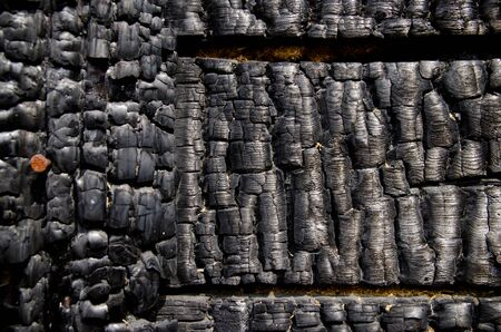 Black burnt wall of house of wooden planks with embossed texture. damage to the building from fire without the possibility of restoration. property insurance. Reklamní fotografie
