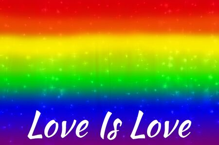 blurred rainbow background with Love Is Love text. abstract gradient web wallpaper. LGBT movement concept. Event of Summer of Pride 2019 concept. - Image.
