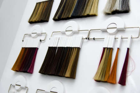 various samples of hair coloring on a special white stand in the salon. hair dye color choice.