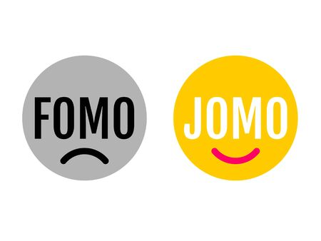Two funny emojis showing the difference between FOMO and JOMO. JOMO means Joy Of Missing Out. FOMO means Fear Of Missing Out. Mental health concept due to oversupply of information. Digital detox.