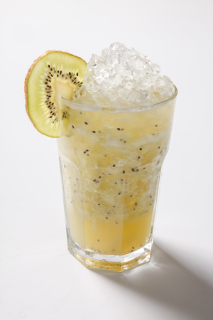 lemon and kiwi in cold cocktail. mojito with lemon and kiwi. Isolated