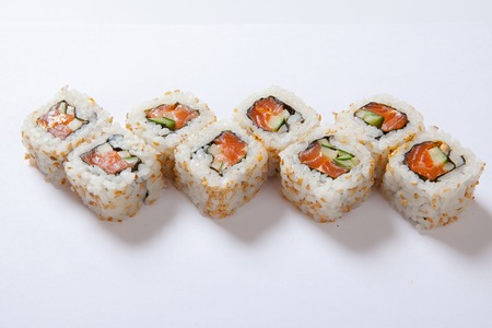 Japanese seafood sushi , roll a white background. Close up