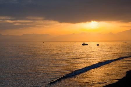 palma: beach in sunrise time. The beach at sunset.