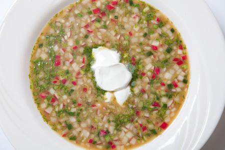 ensaladilla rusa: Russian cold vegetable soup on yogurt, sour-milk base - okroshka.