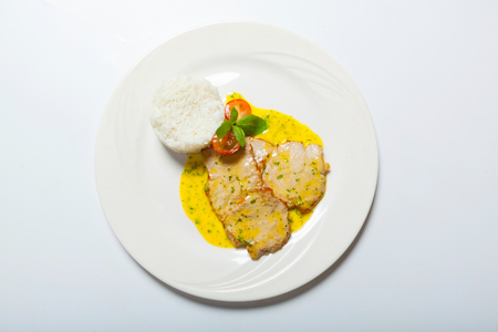 pork cutlet with curry sauce and rice. Stock Photo
