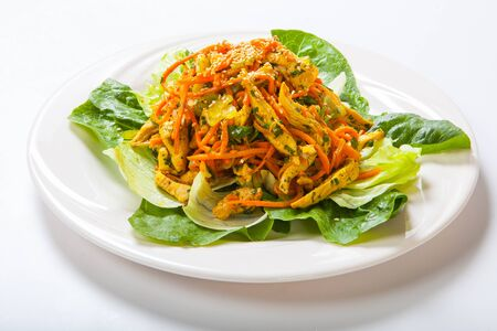 chicken salad with fresh vegetables and sesame in Asian style. Stock Photo