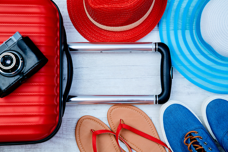 Set of colorful accessories for active summer vacation. Traveler blogger or woman blogger conception.
