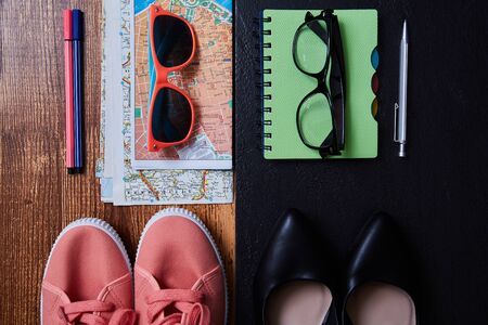 Work life balance choice concept. Accessories for leisure and work Imagens