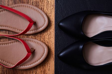 Work life balance choice concept: colored sandals or flip-flops and strict black office shoes.