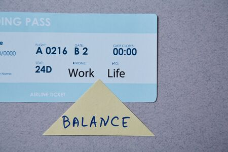Work life balance choice concept. boarding pass and sticker. Reklamní fotografie - 124678148