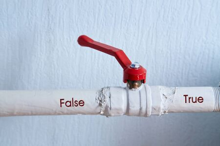 Fake news, disinformation or false information and propaganda concept. The faucet and the words Imagens