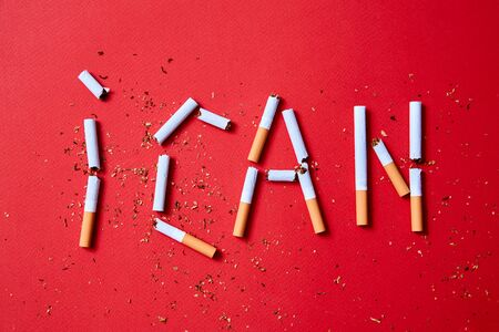 Quit or stop smoking concept. The writing I can from cigarettes