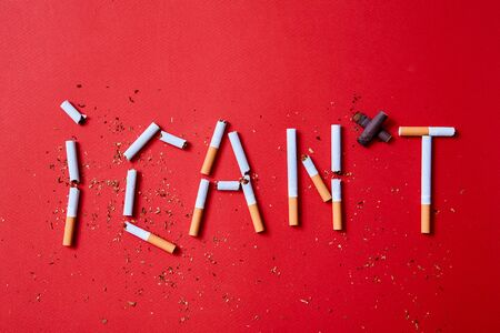 Quit or stop smoking concept. The inscription I can not from cigarettes on a red background