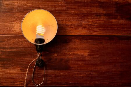 Reading, storytelling and education. Concept for writing, writer and fiction. Vintage lamp on wooden background.