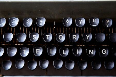 Reading, storytelling and education. Concept for writing, writer and fiction. The keyboard of a typewriter. Archivio Fotografico
