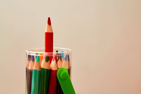 Creative, bright idea and innovation or inspiration concept. Colored pencil sticking out of the pack