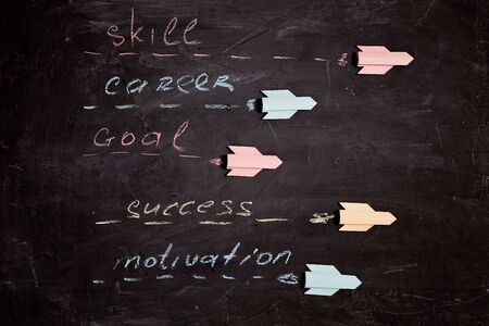 Motivation amd success concept: Multicolored rockets with inscriptions goal, innovation, creativity, individuality. Stock Photo