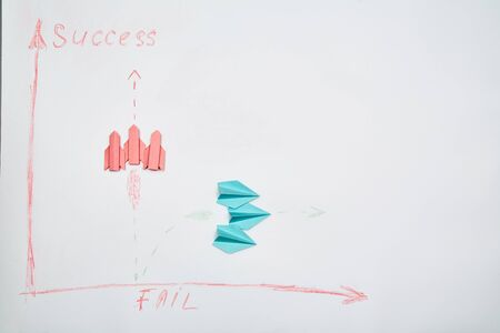 Business success and fail concept. Solution, rivalry and challenge. A team of leaders thinking strategically
