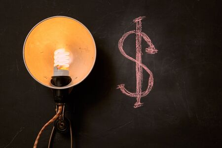 Concept for business motivation, success and future: Vintage light bulb and dollar sign
