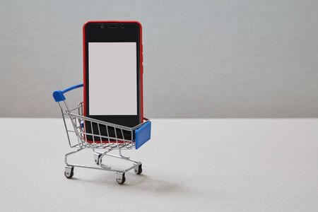 E-commerce and e-mail marketing. E-business, online marketing and network concept. Smartphone and basket for shopping. Reklamní fotografie