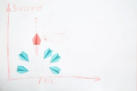 Success and strategy. Challenge, improvment and progress concept. Colorful paper planes on a white background.