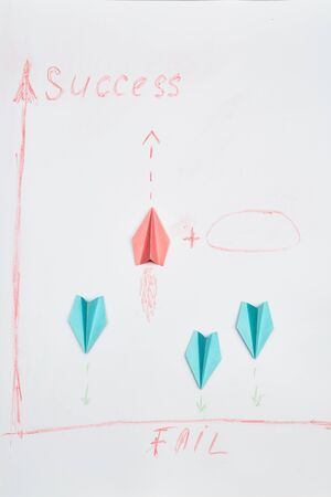 Business solutions, success and strategy. Improvment and progress concept. Colorful paper planes on a white background.
