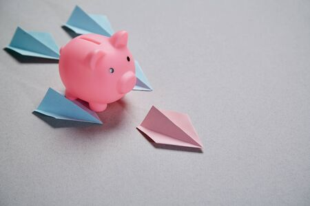 Earning, finance, investment, development and stock market concept. Pink pig flying down surrounded by paper airplanes.