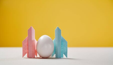 Start up and success. New business, aspirations, and investment concept. Egg soaring on the wings of rockets Reklamní fotografie