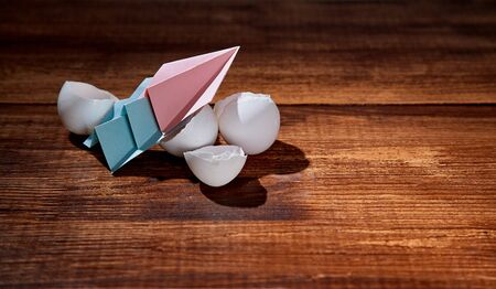 Startup and development. New business, growth and investment concept. A few paper planes taking off from broken eggs Reklamní fotografie