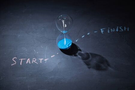 Time runnig out, deadline and time management concept. Hourglass on a black chalkboard and label the start and finish