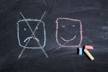 Good or bad service. Customer experience, client and Customer support. Rating and rate. Smiley face on the blackboard.