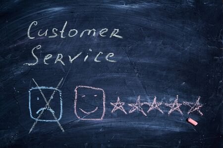 Customer service and client support concept. Rating and rate. Smiley, nscription and five stars.