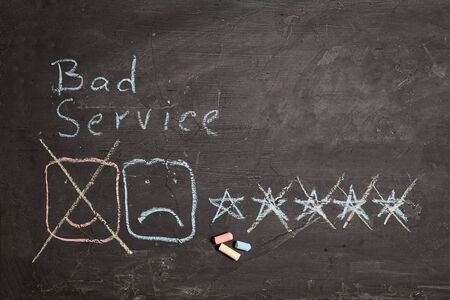 Customer experience, rating and rate. Client and Customer service. Bad or good service. Sad smiley face and one star. Stok Fotoğraf