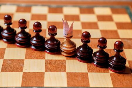 King, leadership and business strategy. Board game. A chess pawn on a chessboard 写真素材