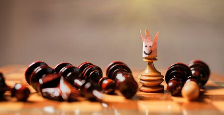 King, leadership and business strategy. Board game. A pawn with a crown on its head.