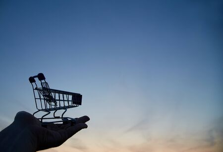 Shopping, sale or Black friday concept. Supermarket and discount. The silhouette of the cart for shopping