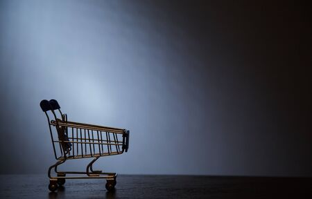 Black Friday, Shopping and sale concept. Supermarket and discount. The silhouette of the cart for shopping 写真素材