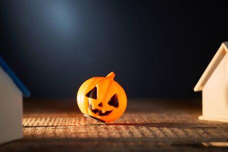 Halloween pumpkin. Scary, horror and dark concept Grey background