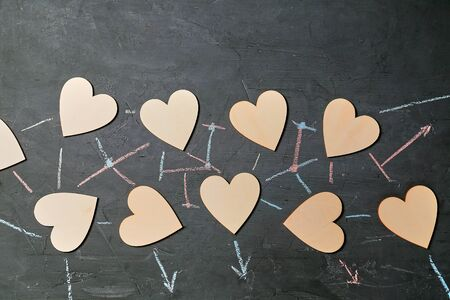 Online dating and love. Internet communication, networking and sharing concept. Social media concept. Figure of heart.