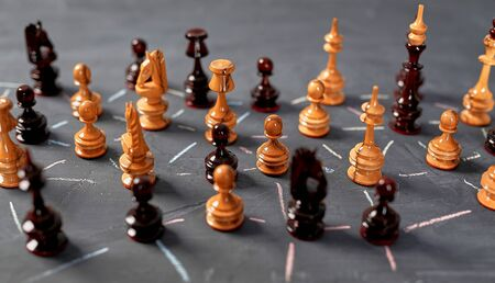 Global networking, communication, connecting technology communities and social media marketing. Chess piece