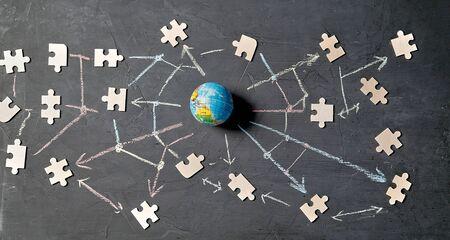International networking, social media, global communication and sharing concept. Digital marketing and blockchain