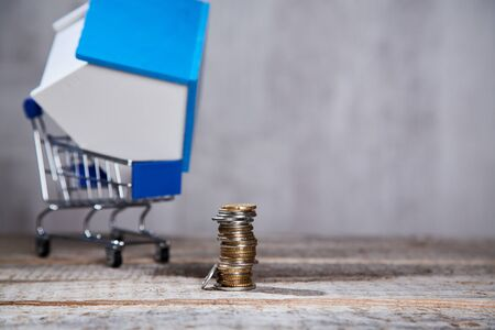 Property investment. Real estate market. House model in shopping cart and coins for purchasing apartment. Copy space