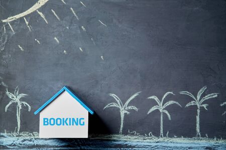 Booking accommodation. Online booking tickets and rent. Travel housing. Summer resorts and travelling concept.
