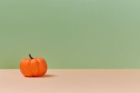 Thanksgiving day background. Harvest festival. Autumn backdrop. Orange pumpkin, place for text. Blessing of harvest. Banque d'images