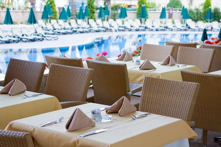 Beautifully decorated tables for many peoples outdoors