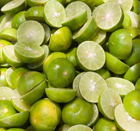 produce sections: Green limes