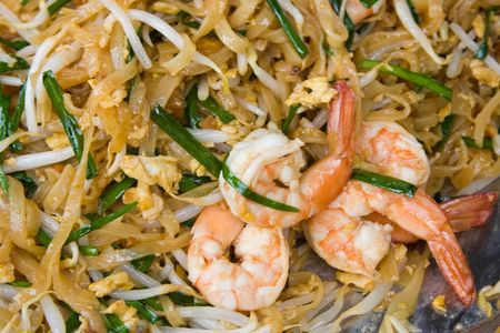 Spicy shrimp pad thai rice noodles photo