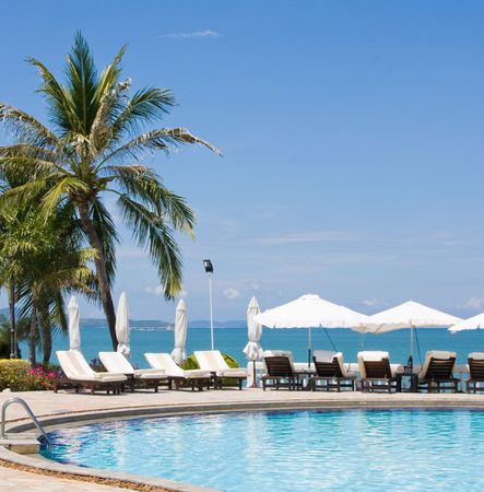 Swimming pool on a sunny day.Pattaya city in Thailand . Stock Photo