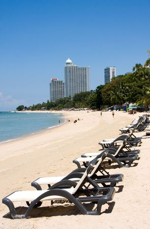 Beach on a sunny day.Pattaya city in Thailand . photo